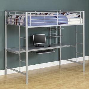 Amazon.com: Walker Edison Black Metal Twin Loft Bed with Workstation ...