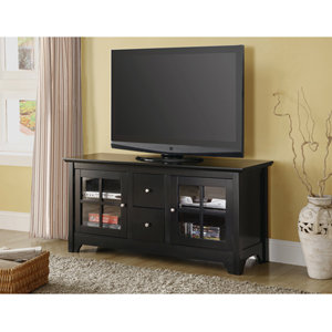 Walker Edison 52 Inch Wood TV Console with Drawers, Matte Black
