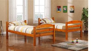 Walker Edison Twin/Twin Solid Wood Bunk, Honey
