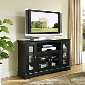 Walker Edison 52 Inch Highboy Style Wood TV Stand, Matte Black