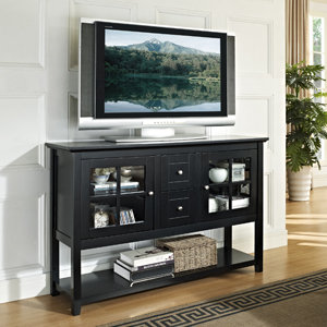 Walker Edison 52 Inch Wood Console Table TV Stand, Matte Black
