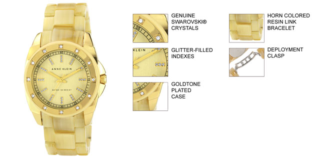 Anne Klein Women's 10-9988CHHN Gold Resin Quartz Watch with Yellow Dial