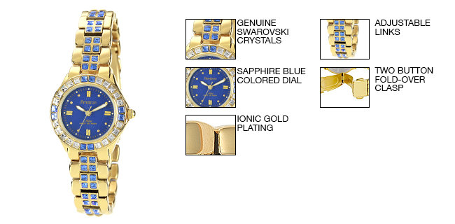 Armitron Women's 75/3689BLGP Sapphire Colored Swarovski Crystal Accented Gold-Tone Watch