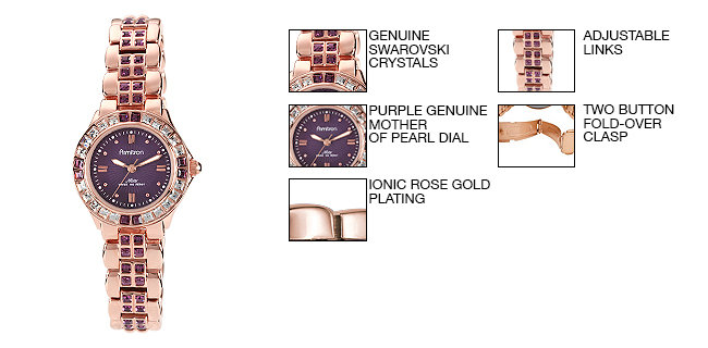 Armitron Women's 75/3689VMRG Amethyst Colored Swarovski Crystal Accented Rose Gold-Tone Watch