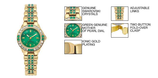 Armitron Women's 75/3689GMGP Green Swarovski Crystal Accented Gold-Tone Bracelet Watch