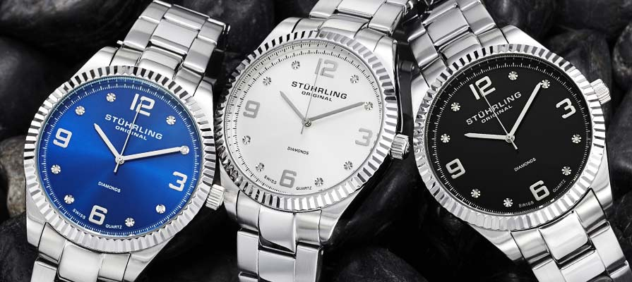 Stuhrling Original Stainless Steel Watch with Diamonds