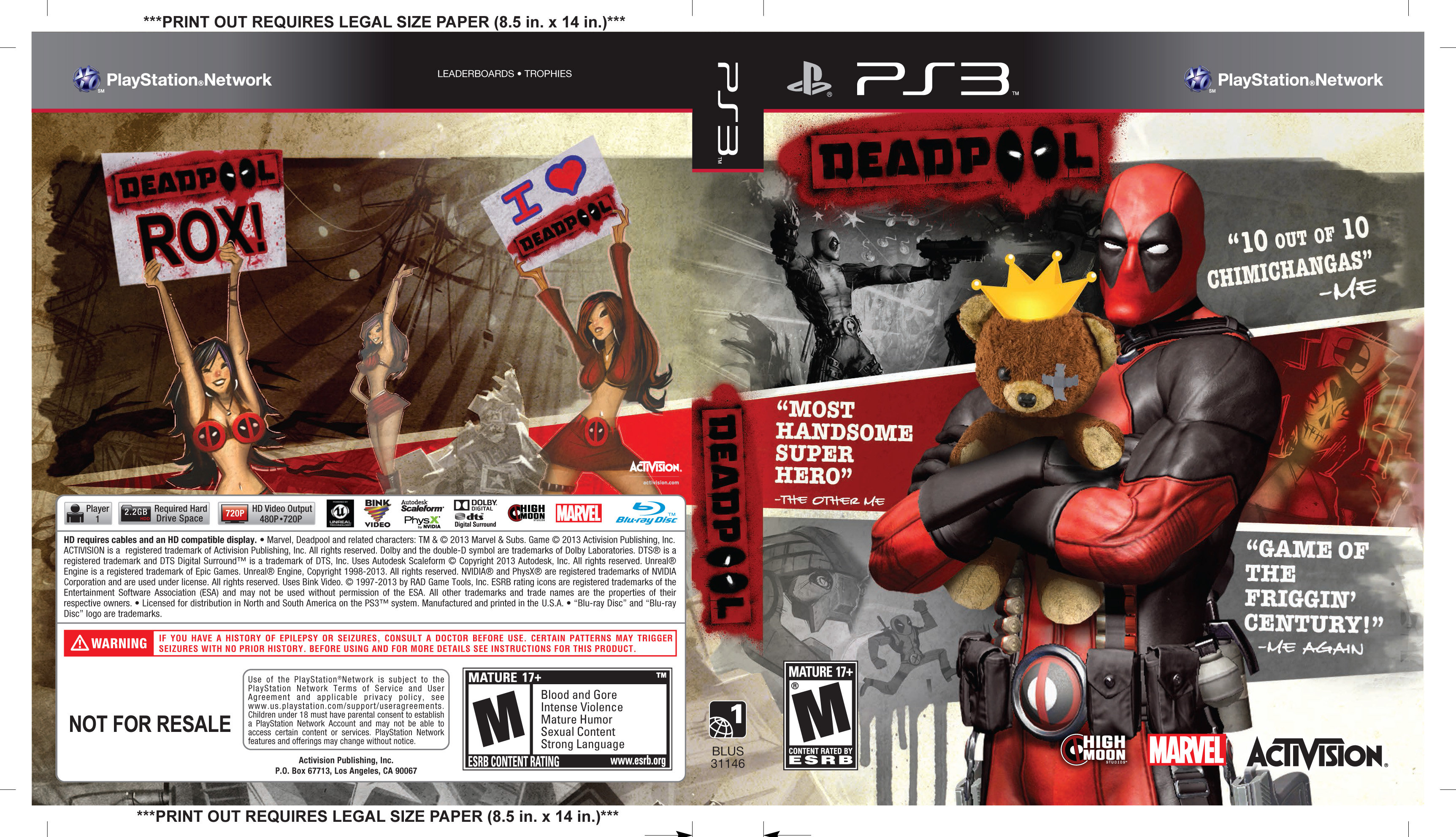 Image result for dead pool ps3 cover