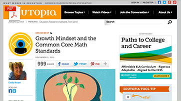 Growth Mindset and the Common Core Math Standards