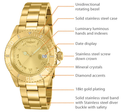 Invicta Women's 12820 Pro Diver Gold Dial Diamond Accented Watch