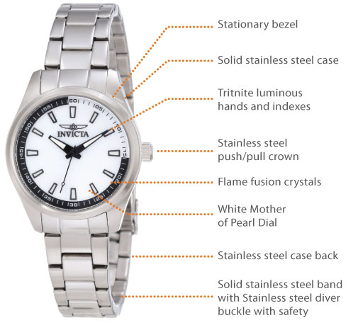 stainless steel case with a stainless steel bracelet fixed stainless