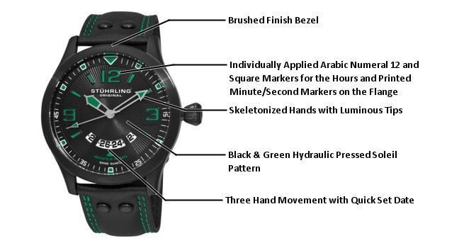 Stuhrling Original Mens 141A.335571 Leisure Eagle Brigade Swiss Quartz Date  Black Leather Strap Watch 3ec945f9a77