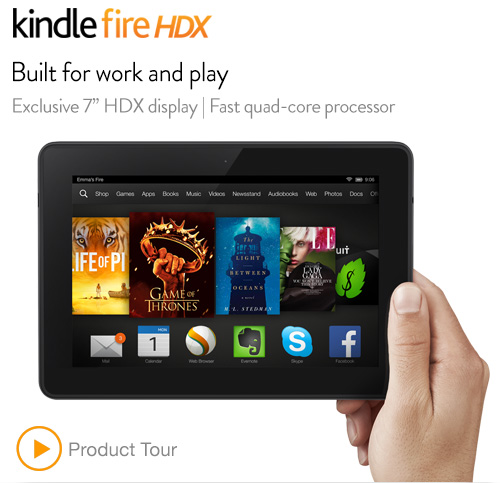 Kindle Fire HDX 7″, HDX Display, Wi-Fi, 16 GB – Includes Special Offers $179