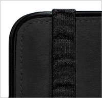 An elastic strap secures the front cover in place when closed or folded backward for reading