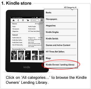 Click on �See all categories...� to browse the Kindle Owners� Lending Library.