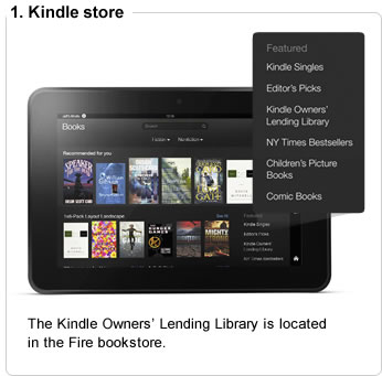 The Kindle Owners� Lending Library is located in the Fire bookstore.