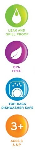 Leak and spill proof; BPA Free; Top-Rack Dishwasher Safe; Ages 3 and up