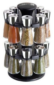 cole mason herb and spice carousel rack with 6 glass jars and spices kitchen dining. Black Bedroom Furniture Sets. Home Design Ideas
