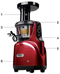 Kuvings Silent Juicer SC Series With Detachable Smart Cap, Burgundy Pearl%
