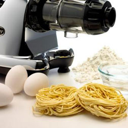 Homemade spaghetti, linguini, or breadsticks can be extruded in just minutes with the included pasta nozzles.