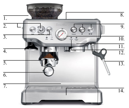 Breville BES860XL Barista Express Espresso Machine with Grinder photo 01
