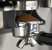 Barista Express portafilter with commercial style spouts