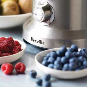 The Breville BJE820XL Dual Disc Juicer with berries