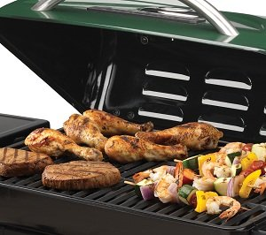 240 square inch grilling surface provides ample space for food... 10 burgers - 8 steaks - 8 chicken breasts - etc