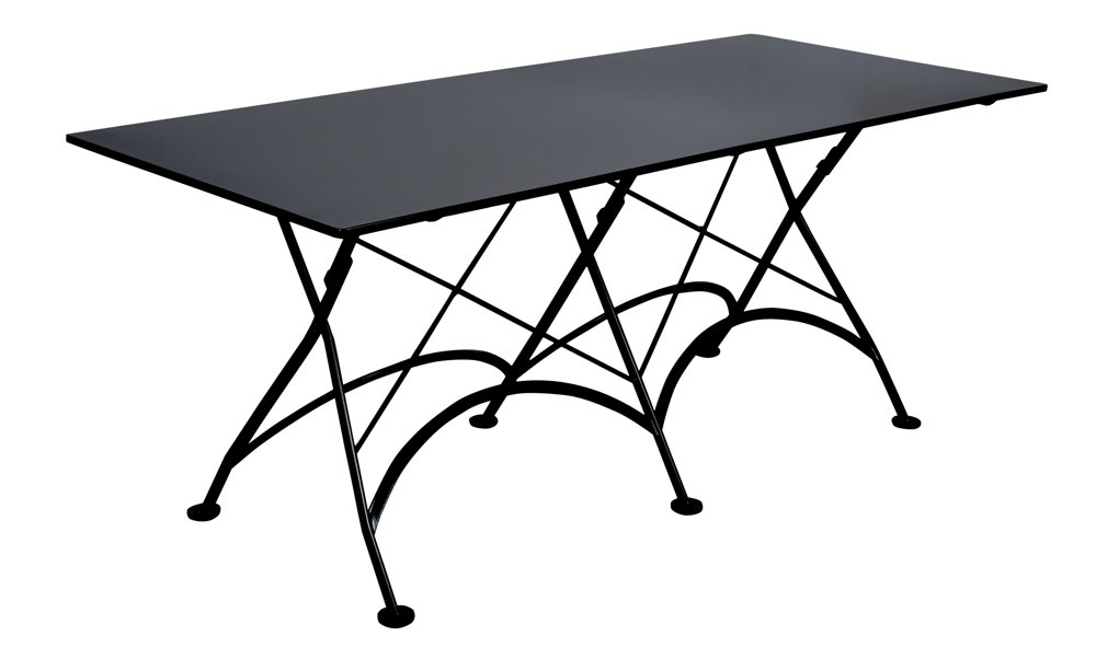 Outdoor Folding Table : Elegantly designed European-styled outdoor table with jet black metal ...