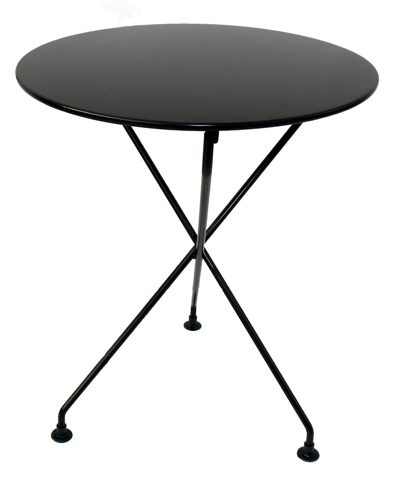 elegantly designed european styled outdoor table with jet black metal