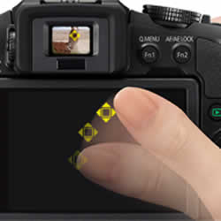 Full-Area Touch AF and Touch AE features of the  Panasonic LUMIX DMC-G6 compact mirrorless digital camera