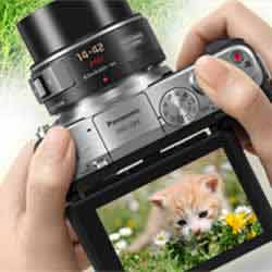 The touch LCD monitor of the Panasonic DMC-GF6 compact mirrorless digital camera