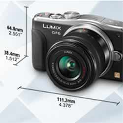 The compact size of the Panasonic DMC-GF6 compact mirrorless digital camera
