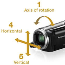 5 axis stabilization and 80x zoom features of the Panasonic HC-V520 HD Video Camcorder