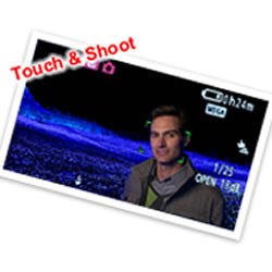 Touch LCD Screen of the Panasonic HC-V520 HD Video Camcorder