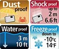 Dustproof, Shockproof, Waterproof, Freezeproof