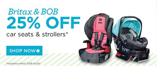 25% off britax and bob car seats