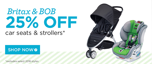 25% off britax and bob car seats and strollers