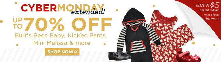 Cyber Monday EXTENDED! Up to 70% off clothing & shoes