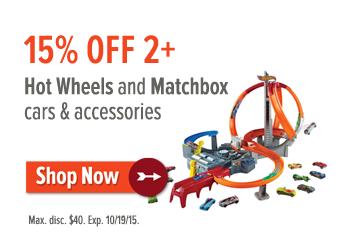 15% off 2+ Hot Wheels & Matchbox