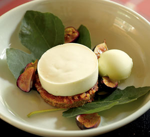 Grilled Fig Leaf Panna Cotta