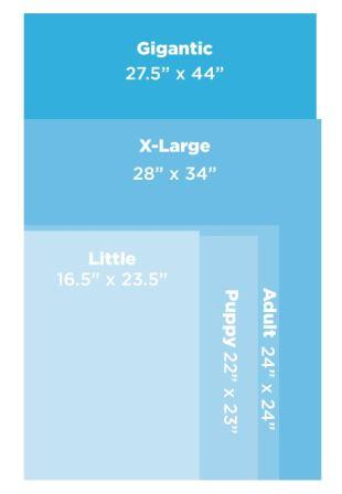 Wee Wee Pad Size Chart