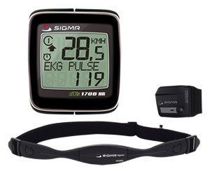Sigma Sport BC 1706 HR DTS with speed transmitter and pulse monitor.