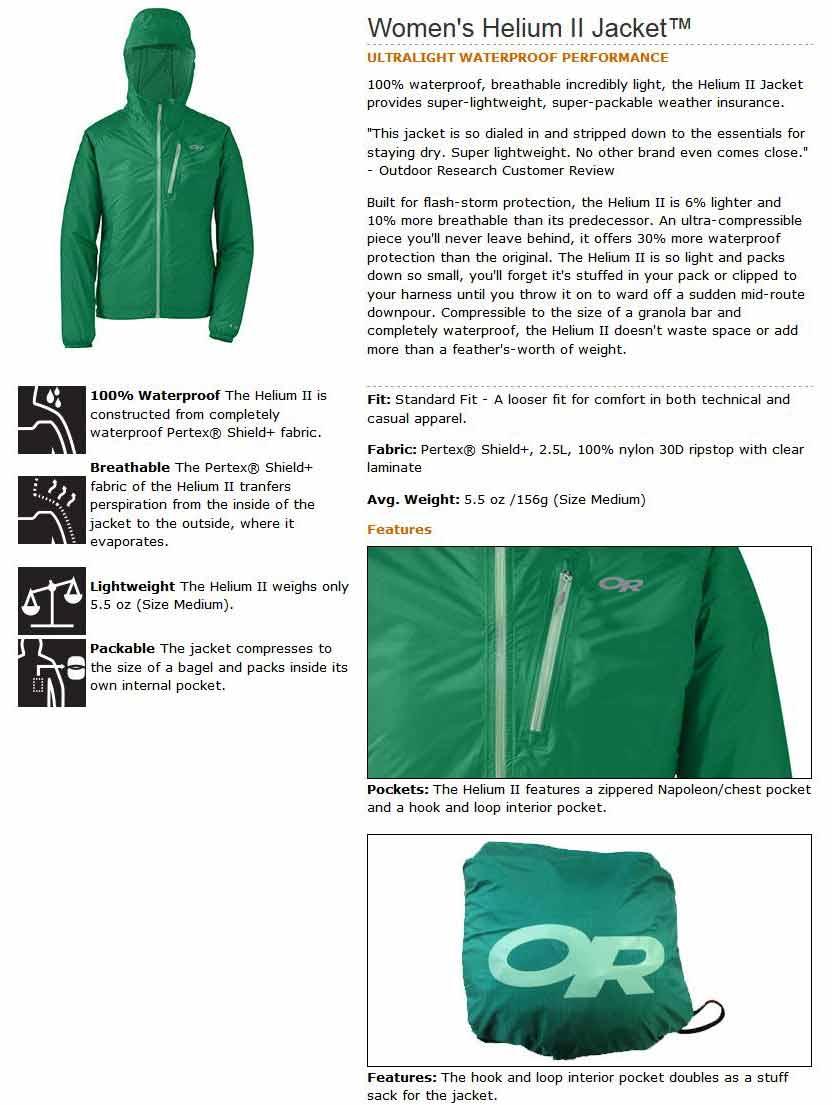 Amazon Com Outdoor Research Women S Helium Ii Jacket