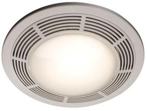 Broan Model 751 Fan Light 100 Cfm 3 5 Sones Round White Grille With Glass Lens Bathroom