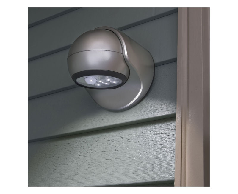 motion sensor led porch light with adjustable rotating head silver. Black Bedroom Furniture Sets. Home Design Ideas