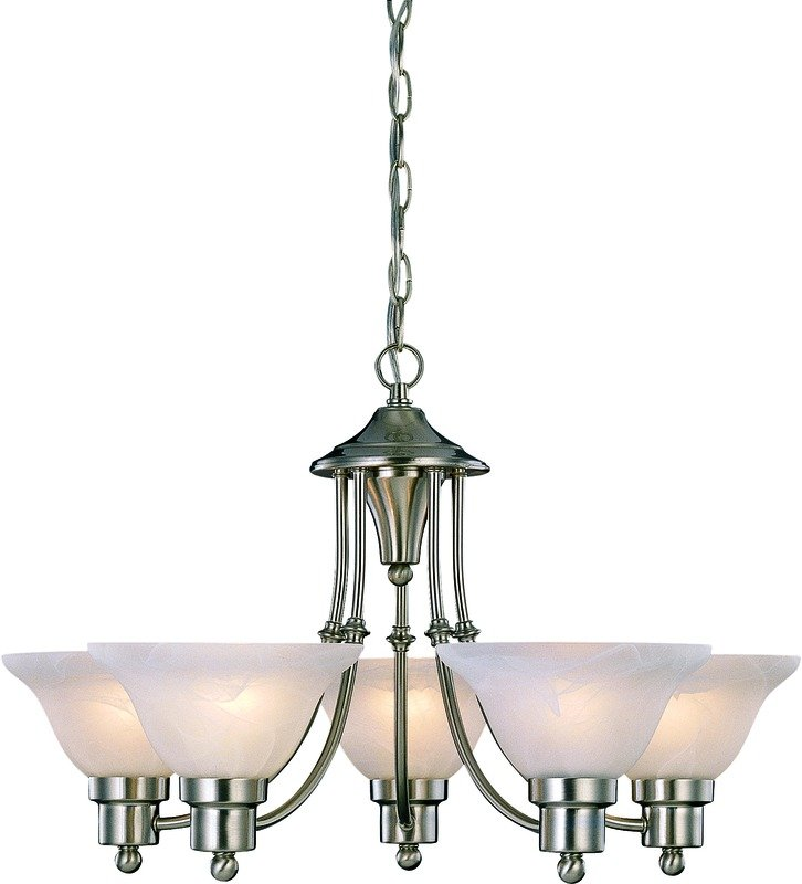 this five light chandelier features an artdeco design and is available