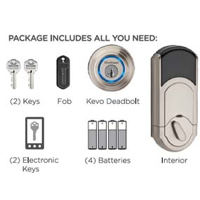 Kwikset Kevo Smart Lock With Keyless Bluetooth Touch To Open Convenience In Satin Nickel Door