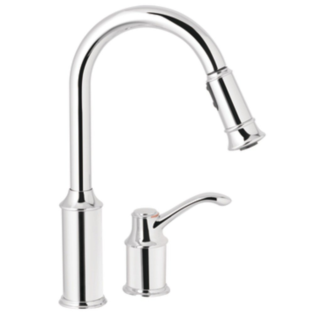 Moen 7590c Aberdeen One Handle High Arc Pulldown Kitchen Faucet Chrome Touch On Kitchen Sink