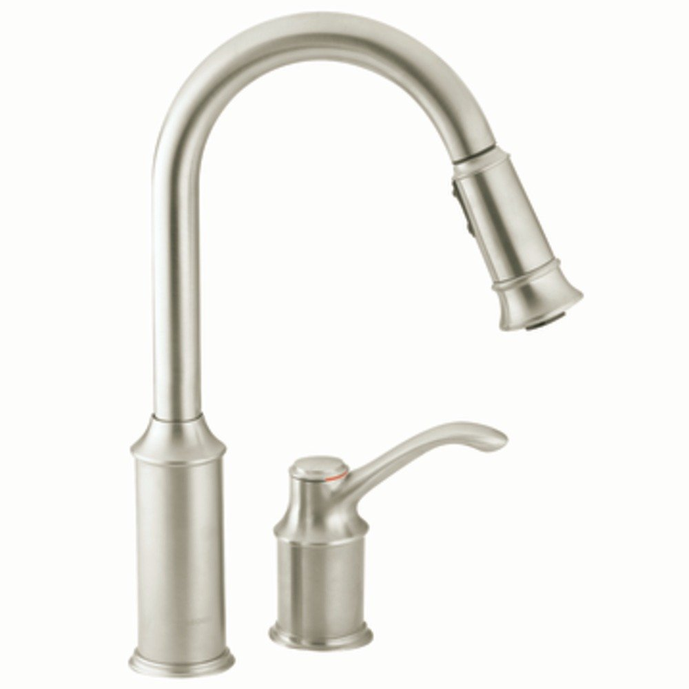 moen 7590csl aberdeen one handle high arc pulldown kitchen faucet classic stainless touch on