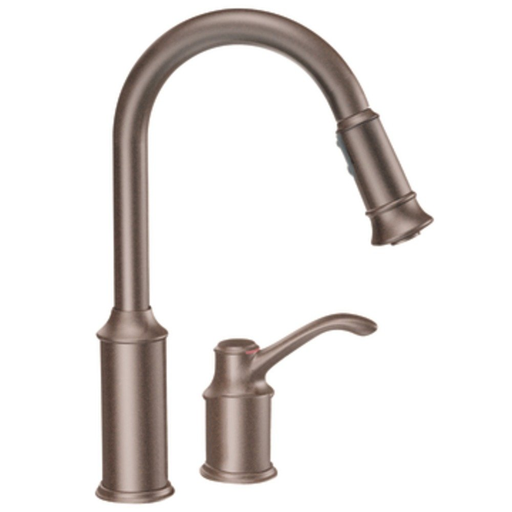 moen 7590orb aberdeen one handle high arc pulldown kitchen